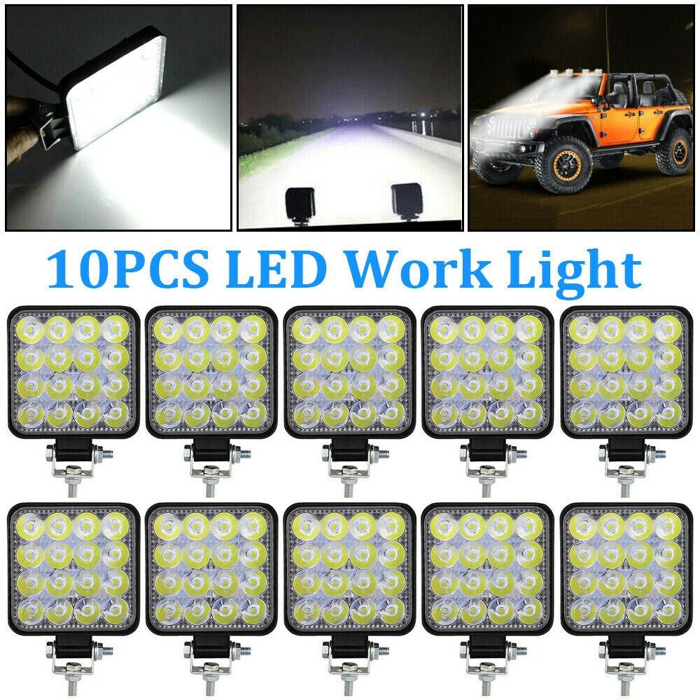 OKEEN 10pcs 48W LED Work Light Bar Spot Beam Car SUV Off-Road Driving Fog Lamp 12V 24V LED Light Bar 27W 42W For Turck 4x4 Boats